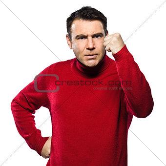 caucasian man angry gesturing