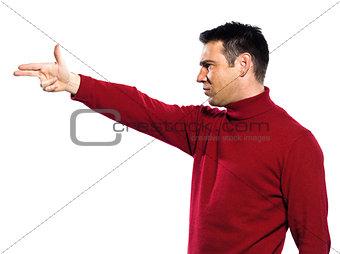 caucasian man gun gesture