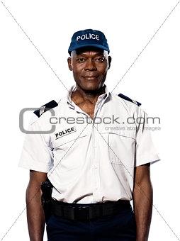 Portrait of policeman in studio
