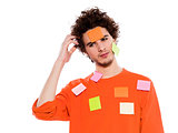 one young man portrait covered by  adhesive notes