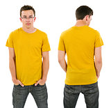 Male with blank yellow shirt and glasses