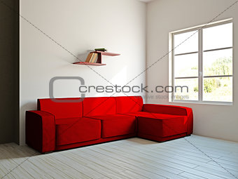 Red sofa and  in the livingroom