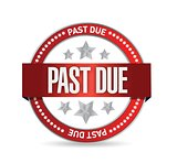 past due seal stamp illustration design