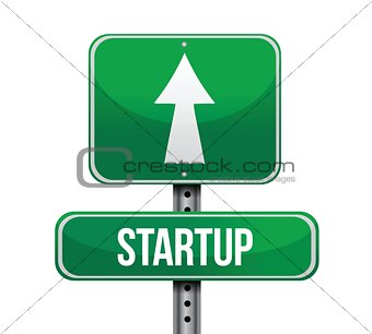 startup road sign illustration design
