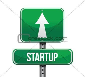 startup road sign illustration design