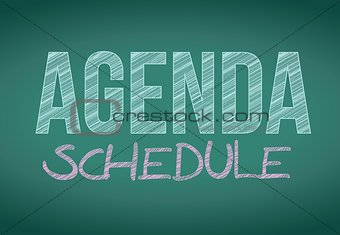 agenda schedule message written on a blackboard