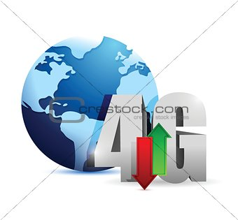 4g connection around the globe. illustration