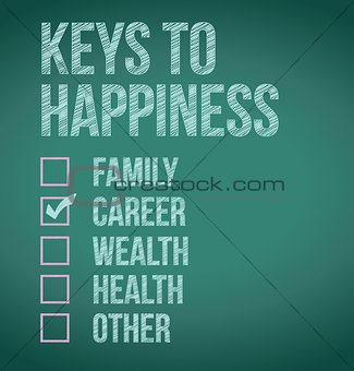 career. keys to happiness illustration