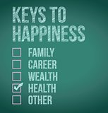 health. keys to happiness illustration design