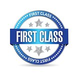 first class seal stamp illustration design