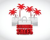 summer sale sign and bags illustration design