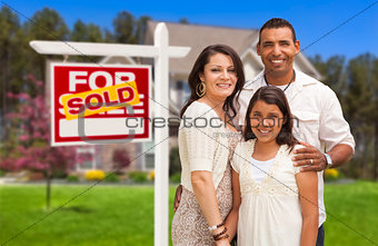 Hispanic Family in Front of Their New Home and Sign