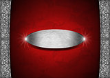 Red and Silver Floral Background with Metal Plate