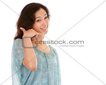 woman call me gesture