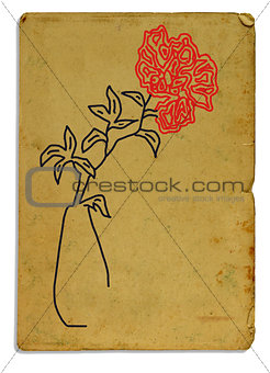 postcard with a picture of a red flower