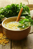 yellow lentil soup with green coriander
