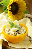 egg salad with quail eggs, cucumber and sausage
