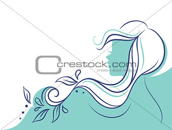 Beautiful woman's profile doodle