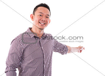 Asian male finger pointing something