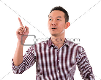 Asian male finger pointing up