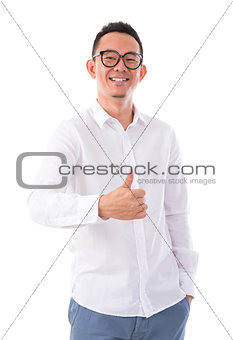 Thumb up Asian man