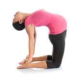 Pregnant yoga position camel pose.
