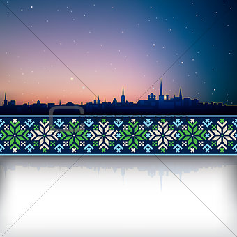 abstract background with sunrise and silhouette of city