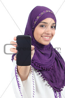 Arab woman wearing a hijab showing a blank smartphone screen