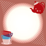 Greeting card with teapot and cups