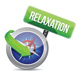compass pointing to relaxation. illustration