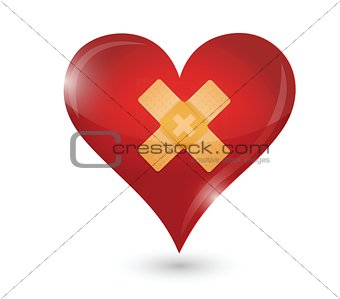 broken heart. heart and band aid illustration
