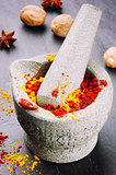 Mortar with chili pepper and curry powder