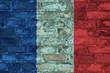 Flag of France on a brick background
