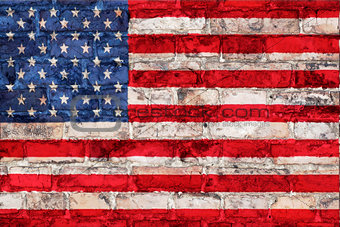 Flag of USA on a brick background