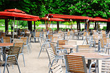 Cafe terrace in Tuileries Garden, Paris