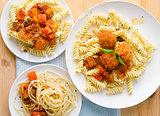 plate of spaghetti with meatballs in tomato marinara sauce and i