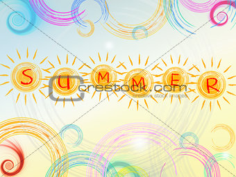 summer background with text in yellow suns and circles and spira
