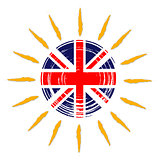 British flag in sun