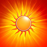 3d yellow sun with glowing orange rays