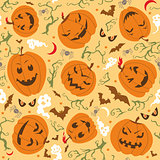 Scary Halloween Seamless Pattern