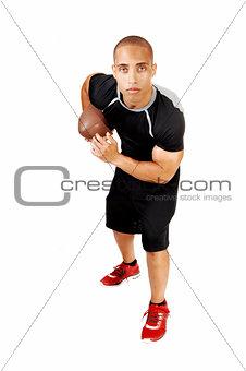 Football player standing.