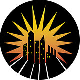 City skyline silhouette icon