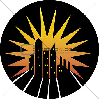 City skyline silhouette icon