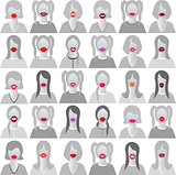 Lip set icons isolated set movember