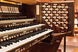 Church Pipe Organ with Control Buttons Closeup