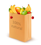 100 percent natural on a paper bag full of fresh fruits. Concept
