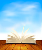 Open book on a wooden floor in front of a blue background. Vecto