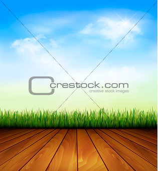 Background with wood and grass. Vector.
