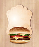 Retro fast food menu for burger. Vector illustration