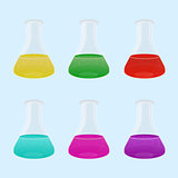 Set of multicolour liquid in laboratory flasks